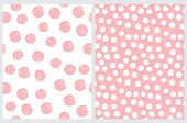 Simple Seamless Vector Pattern With Hand Drawn Irregular Dots. Pink Brush Dots Isolated On A White B poster