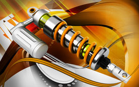 stock photo of mechanical engineer  - Digital illustration of Shock absorber in colour background - JPG