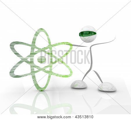 Постер, плакат: Значок Atom науки с футуристическим символом на белый bakground, холст на подрамнике