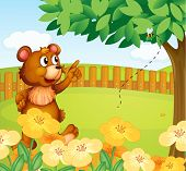 Illustration of a bear inside the fence pointing a bee