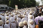 1000 Gandhi Dressed Children Walking On Street