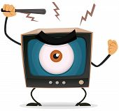 image of brainwashing  - Illustration of a cartoon angry retro tv character with big brother eye watching and holding nightstick to hit your brain - JPG