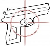 Hand Gun Outline With Cross Hair