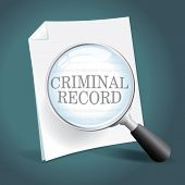 stock photo of inmate  - Taking a close look at a criminal record - JPG