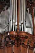 stock photo of pipe organ  - Beautiful old pipe organ pipes in a traditional church - JPG