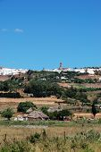 Farmland and village, Medina Sidonia, Spain.