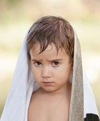 Three Year Old Boy With A Serious Expression