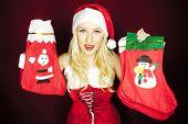 Beautiful Christmas Girl With Christmas Stockings