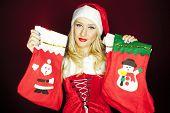 Christmas Girl With Christmas Stockings