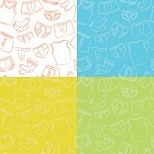 stock photo of tanga  - Four Male Underwear Doodle Seamless Patterns Collection - JPG