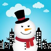 Happy Snowman in the city