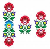Folk embroidery - floral traditional polish pattern