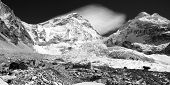 Black and white view of Mt Everest base camp