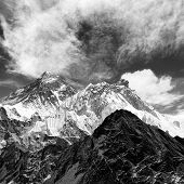 black and white view of everest from gokyo ri with clouds