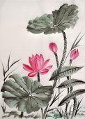 Aquarell von Lotusblüte