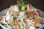stock photo of rebs  - A bowl of cilantro lime cole slaw - JPG