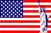 Statue Of Liberty On The Flag Usa
