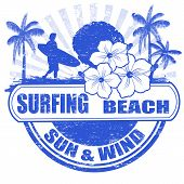 Surfing Beach Stamp