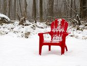 Single red adirondack armchair covered in snow near woods in winter scene