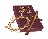Bíblia Sagrada com Cruz de madeira e uma coroa de Espinho