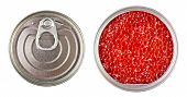 Red Caviar In Metal Tin Isolated Over White
