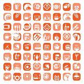 big color kitchen icons set