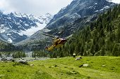 image of rescue helicopter  - alpine helicopter rescue and doctor on the meadow - JPG