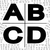 ABCD licence,black-white