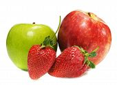 Two Ripe Appels With Strawberry