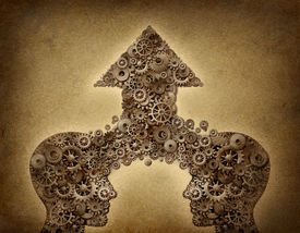 picture of merge  - Business cooperation success teamwork growth concept with two human head shapes merging together to form an upward arrow made of gears and cogs as a financial symbol on a grunge old parchment paper - JPG