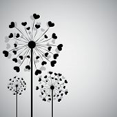Black dandelion with hearts
