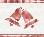 Red knitted illustration with two bells for your design