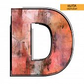 art sketched stylization alphabet in vector, colorful font, sign D
