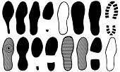 picture of soles  - set of different footprints isolated on white - JPG