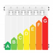 Energy efficiency rating on heating radiator.