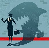 Abstract Businesswoman Is A Shark In Disguise.