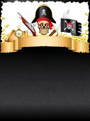stock photo of pirate hat  - Pirates and treasures grunge vertical vector background - JPG