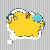 pic of kawaii  - Speech bubble with sticker kawaii doodles - JPG