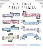 Hand drawn banner and ribbon vector design set