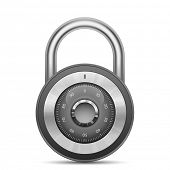 Security combination lock. Vector illustration of padlock