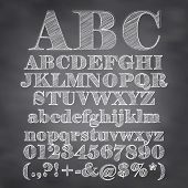 stock photo of alphabet  - Vector Illustration Of Chalk Sketched Characters On A Blackboard Background - JPG