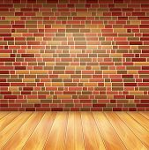 Brick Wall And Wood Floor, Vector Background