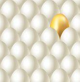 Eggs And Golden Egg Seamless Vector Background