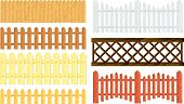 stock photo of wooden fence  - Collection of different wooden fences in vector - JPG