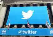 NEW YORK - NOVEMBER 7: The Twitter logo is shown in front of the NYSE on November 7, 2013 in New Yor