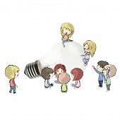 Kids Around Realistic Bulb. Realistic Vector Design.