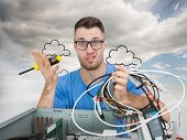 Composite image of portrait of confused young it professional with screw driver and cables in front of open cpu over white background