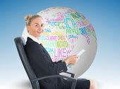 Composite image of attractive blonde businesswoman sitting in swivel chair holding folder