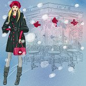 Vector Beautiful Fashionable Girl Near The Christmas Parisian Cafe