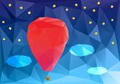 ballon at night, poplygonal vector illustration